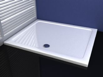 Premium Low Profile Gloss White Stone Resin Rectangular Shower Tray
